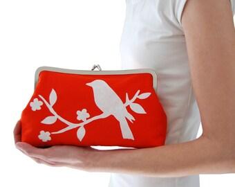Orange clutch bag, Bird handbag, Fabric clutch purse, Screen printed handbag, Orange wedding clutch, Metal frame purse, Handmade clutch