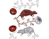 Rose Mice - Print
