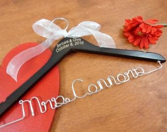 Engraved Wire Name Hanger - Custom Name Hangers - Bride Coat Hangers - Bridal Accessories - Wedding Dress Hangers - Personalized Hangers