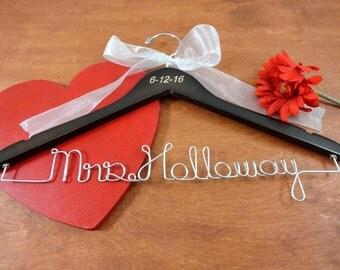 Wedding Date Hanger - Name Hanger Wedding - Coat Hanger - Date Hanger - Customized Bride - Hanger For Wedding - Custom Mrs Hanger - Bride