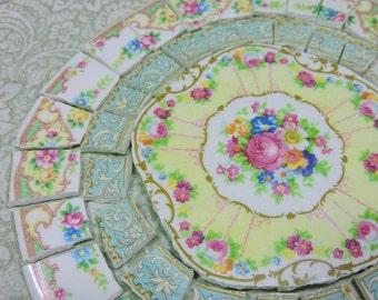 China Mosaic Tiles ~ SHaBBY CHIC ARRaNGeMENT ~ Broken Plates Repurposed