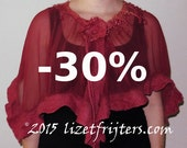 JANUARY SALE Red Wavy Short Nuno Felted Poncho Capelet Summer Poncho with Flower Closure