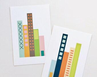 "Doors Art Prints. 4"" x 6"" prints. Graphic shapes. Green, blue, teal, pink, orange, yellow."