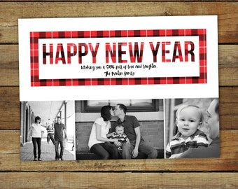 Buffalo plaid new year photo card, red and black checked custom card, 2016 new year card, personalized as printable or printed cards