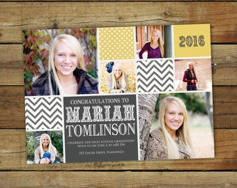 Photo collage graduation announcement and party invitation, graduation photo card announcement, printable card, chevron and polka dots