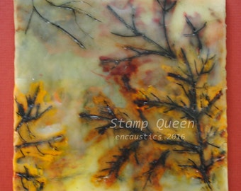 Misty gold - encaustic wax painting