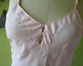 b37 Bias Pink Taffeta  Art Deco Slip Vintage 1930s 1940s Metal Sliders  Bridal Boudoir  Honeymoon
