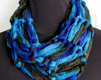 Accessory Scarf Unisex Fashion Cowl Circular Infinity Scarf Hand Knitted in Teal, Blue, Olive Silky Yarn