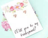 Will you be my bridesmaid earrings / Will you be my bridesmaid gift / Will you be my bridesmaid card / Geometric Earring