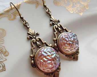 Vintage Glass Button Earrings- Pink Icing
