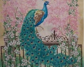 fabric panel w Majestic Peacock deep rich shades of blue and green - make an exquisite quilt or wall hanging