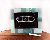 "Turquoise, Aquamarine and Blue Green  - 4"" x 6"" Reclaimed Book Frame - Chalkboard"