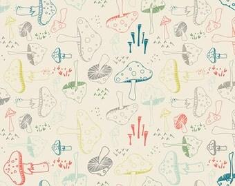Morel Grove Powder - Hello Bear - Art Gallery Fabrics - Bonnie Christine -  Modern Cotton Quilting Fabric - HBR-4432 - Mushrooms Woodland