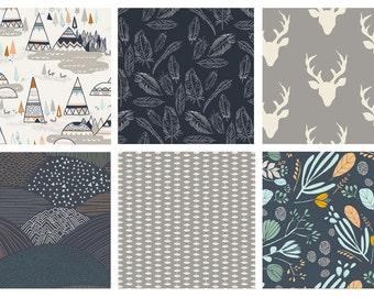 BUNDLE - Hello, Bear - Indian Summer - Bonnie Christine - Sarah Watson - Art Gallery Fabrics - Woodland Deer Feathers Forest