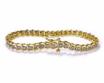 14K DIAMOND Bracelet, Gold Tennis Bracelet ORNATE Chevron Links 0.50 Ctw, BRILLiAnt Cut, Engagement Wedding Gift Her - Jewelry by edmdesigns