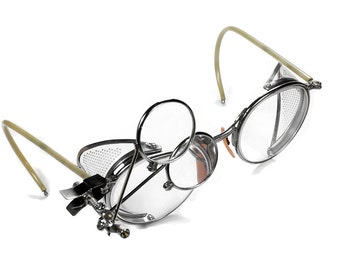 Steampunk Goggles American Optical FULVUE Glasses PREMIUM Frames Perforated Side Shields Like NEW Motorcycle Driving Aviator - by edmdesigns