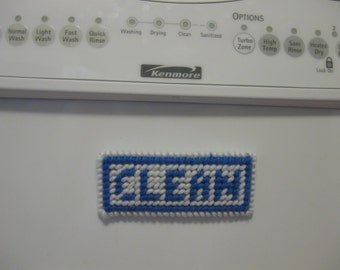 Country Blue & White-Clean/Dirty Magnetic Sign for Dishwasher