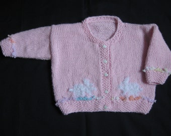 Hand Knit Pink Cardigan with White Bunnies for Child/Toddler