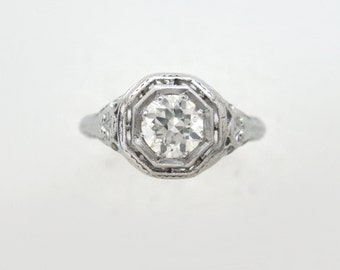 Art Deco Engagement Ring with .50ct Old European Cut Diamond in 18k White Gold Filigree Setting