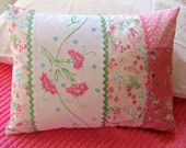 12x16 Pink Bed Pillow, Liberty of London Print, Vintage Embroidery