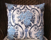 "Blue and White Linen Pillow, 18"", Button Back"