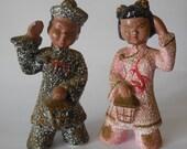 Vintage Asian Figurines Ceramic Couple