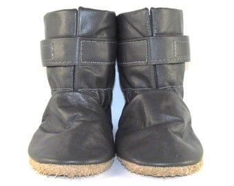 Soft Sole Gray Leather Winter Baby Boots 12 to 18 Month