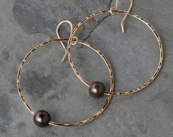 Peacock Pearl Dangle Hoop Earrings 14k Gold Fill Hammered Circle Eternity High Quality 14 Karat Gold Filled Handmade Earring Jewelry