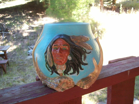 Bowl w/Native American Man, Indian, Indian style Bowl, Blue Bowl, Antlers, Decor, Home Decor, Gift, Hand Painted, Ceramic, Ceramic Gift