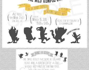 Where the Wild Things Are Baby Shower Invitation - Birthday Party Invite - Bring Book - Wild Rumpus, King Wild - Printed or Download