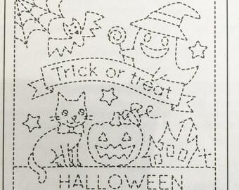 Olympus #1023 WHITE Japanese sashiko kit Trick or Treat Halloween