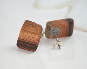 Flat Wood Stud Earrings, Sycamore, Natural Wood Jewelry, Raw Wooden Earrings, Nature Jewelry