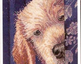 Dog Puppy Cross stitch Plaid Bucilla WM45699 Needlepoint kit for Finished size 5  X  7 unopened kit I didnt do it Marilyn Barkhouse
