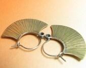 Modern Sterling Silver And Brass Hoop Earrings, Mixed Metal Earrings, Blade Hoops, Contemporary Earrings, Metalwork Jewelry, Rustic Earring