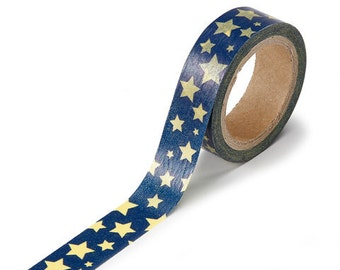 Washi tape 5/8 x 312 inch  Blue with Gold Stars pattern  roll tape measure adhesive scrapbooking supplies craft