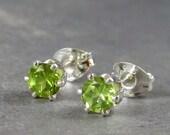 Peridot stud earrings, natural gemstones in sterling silver, 4mm, peridot studs, august birthstone, green gemstone studs, spring earrings