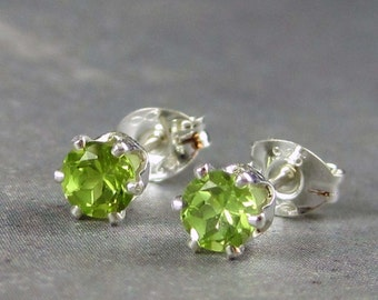 Peridot stud earrings, natural gemstones in sterling silver, 4mm, peridot studs, august birthstone, green gemstone studs, spring earrings