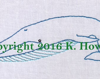 Whale Hand Embroidery Pattern, Blue, Pacific, Whaling, Ocean, Blue Whale, Sea, Blubber, Nautical, PDF