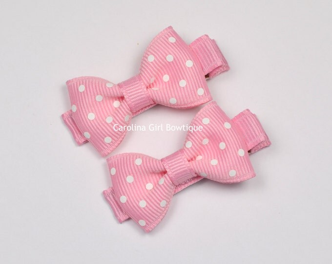 Pink Dots Hair Bow Set of 2 Small Hairbows - Girls Hair Bows - Clippies - Baby Hair Bows ~ No Slip Grip always added