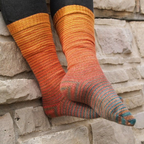 Autumn Forest Gradient Stripes Matching Socks Set, 2-50g Cakes, Lavish (dyed to order)