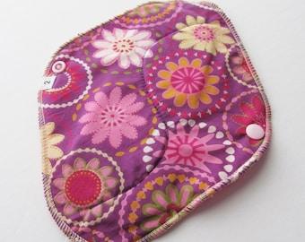 Cloth Mama Pad / Reusable Cloth Pad  - Purple Flowers Printed 8 Inch FREE Shipping