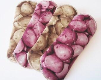 Reusable Cloth Mama Pads Potato Printed Cotton Set of 4 - 8 Inch FREE Shipping
