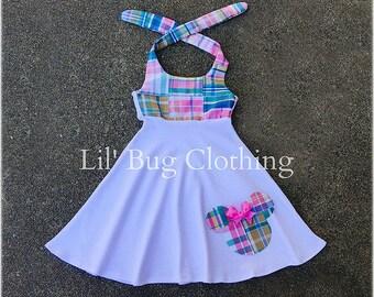 Minnie Mouse Madras Plaid Dress, Minnie Mouse Vacation Dress, Minnie Mouse Birthday Dress, Custom Boutique Minnie Dress