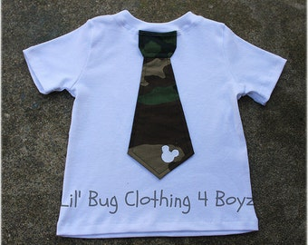 Custom Boutique Clothing Boys  Mickey Mouse White Knit Camouflage Tie Tee
