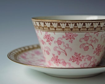 Antique Brownfield and Son brown and pink / chintz floral tea cup & saucer fine China collectible