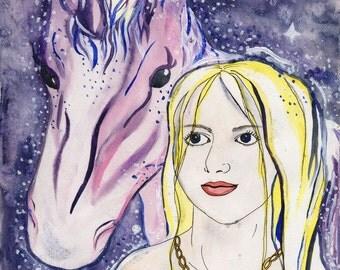 Stardust Original Fantasy Art Unicorn Elf Maiden Watercolor Painting Fairy Tale Magic Fairy Unicorn Purple Illustration by Niina Niskanen