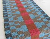HandWoven Table Runner Rep Weave Turquoise Red and Brown Graphic