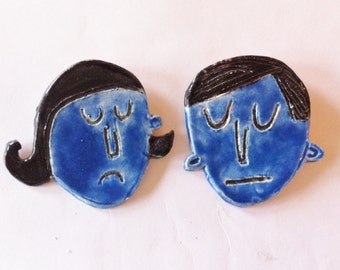 His and Hers - quirky, ooak, ceramic brooch, outsider art pins by Murphy Adams