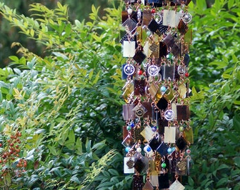 Ode to the Magic Bean Unique Wind Chimes - Suncatcher - Stained Glass - Wind Chime - Colored Glass - One Of A Kind