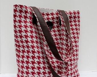 Boutique Tote Shoulder Bag - Fabric Purse - SuperShoulder Bag - Red Cream Houndstooth